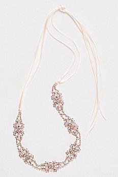 Crystal Cluster Pave Leaf Headband H9145