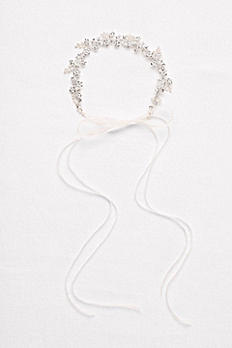 Pearl and Crystal Floral Ribbon Headband H9147