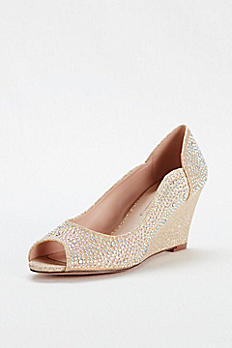 Crystal Peep Toe Glitter Wedge by Blossom HALF9