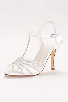 David's Bridal White Peep Toe Shoes (Crystal T-Strap High Heel Sandal)