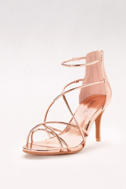 Mirror Metallic Strappy Heels | David's Bridal