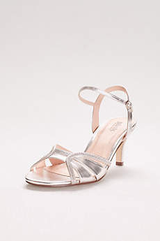 Pink Paradox Grey Sandals (Metallic Mid Heel Sandals with Ankle Strap)