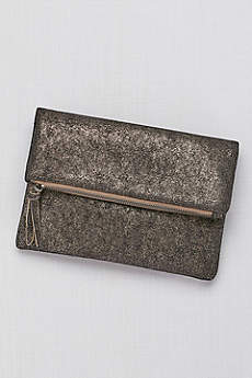 Zip-Top Metallic Foldover Clutch