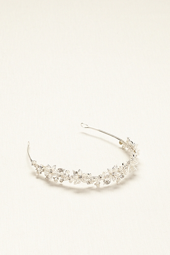 Bridal Headband with Crystals and Pearl Flowers HCT258