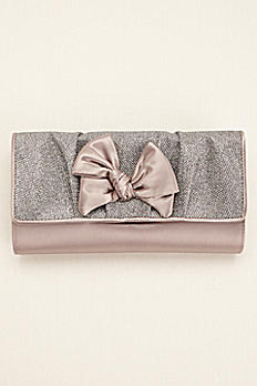 Fold Over Glitter Bow Clutch by Menbur HERMON