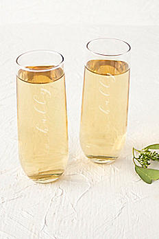 Hubby and Hubby Stemless Champagne Flutes HH1228-2