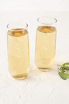 Hubby and Hubby Stemless Champagne Flutes
