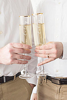 Hubby and Hubby Gold Rim Champagne Flutes HH3668G