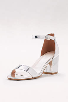 David's Bridal Grey Sandals (Mirror Metallic Block Heel Sandals)