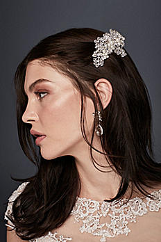 Silver Floral Comb with Pearls HJ10651