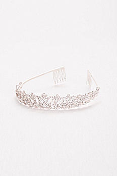 Scalloped Rhinestone Tiara with Baguettes HJ15363
