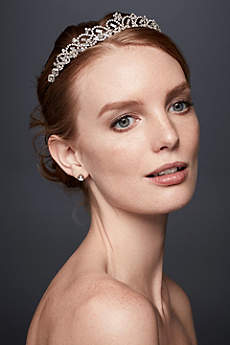Scalloped Rhinestone Tiara with Baguettes