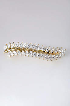 Marquise Cubic Zirconia Leaf Barrette