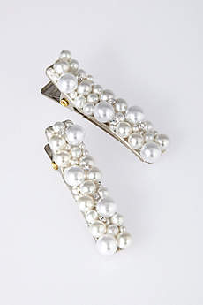 Small Pearl Cluster Barrette Set