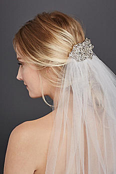 Mid Length Veil with Filligree Comb HJ4523X