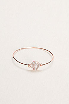 Pave Circle Bangle with Embellished Clasp HL10050B