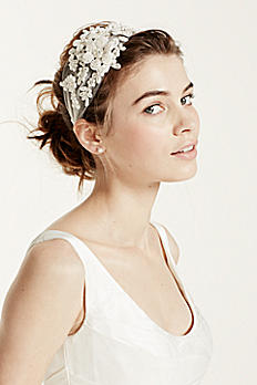 Tulle Headband with Beaded Flowers HMS251511
