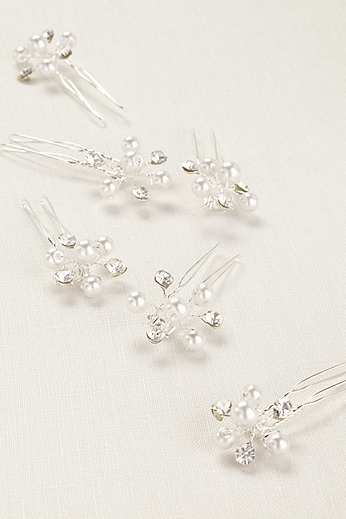 Silver Pearl and Crystal Cluster Hair Jewelry HPJ07