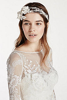 Mixed Media Headband with Side Floral Motif HR3192