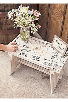 Personalized Heart and Monogram Guest Book Bench HRT-3950