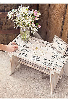 Personalized Heart and Monogram Guest Book Bench