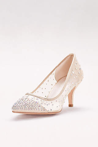 David S Bridal Beige Closed Toe Shoes Crystal Studded Mesh Pointed Pumps