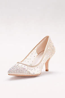 Davids Bridal Beige Closed Toe Shoes Crystal Studded Mesh Pointed Pumps