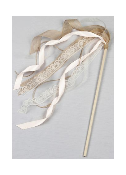 db exclusive ribbon flower girl wand | david's bridal - Beige Wand