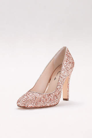 Touch of Nina Grey Closed Toe Shoes RoundToe Glitter Pumps