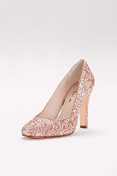 Round-Toe Glitter Pumps