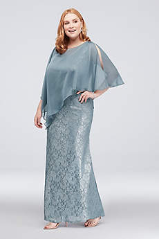 Lace Plus Size Sheath with Asymmetrical Capelet