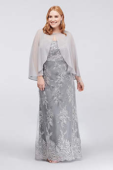 Corded Lace Plus Size Sheath and Chiffon Capelet