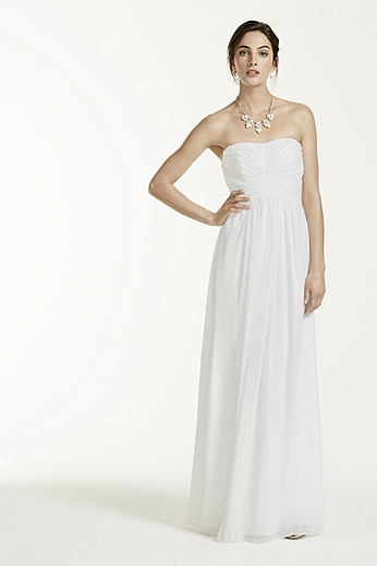 Strapless Long Chiffon Dress with Ruched Bodice INT15555