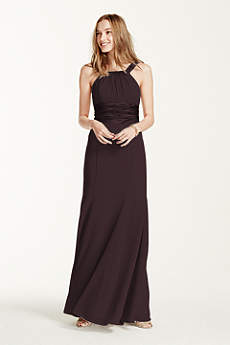 Chiffon and Charmeuse Dress with Rounded Neckline