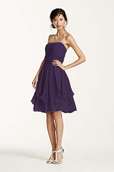 Strapless Chiffon Dress with Layered Skirt