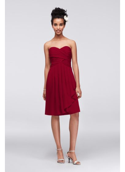 Short Crinkle Chiffon Dress with Front Cascade | David's Bridal