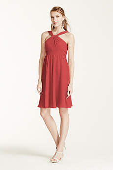 Short Crinkle Chiffon Bridesmaid Dress with Halter
