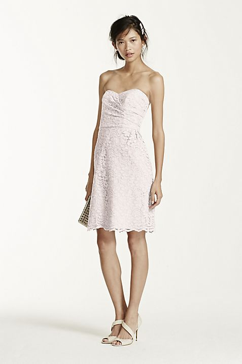 Short Strapless All Over Lace Dress