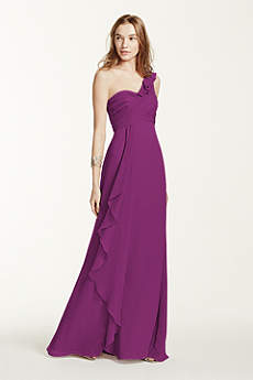 One Shoulder Chiffon Dress with Cascading Detail