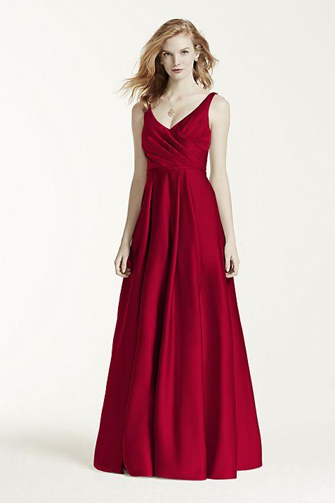 Satin Tank Long Ball Gown | David\'s Bridal