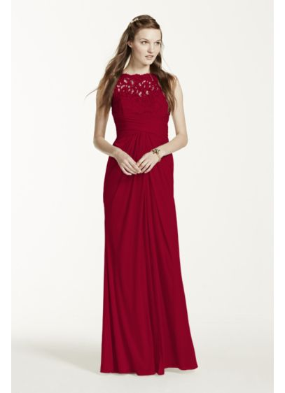 Sleeveless Long Mesh Dress with Corded Lace | David's Bridal