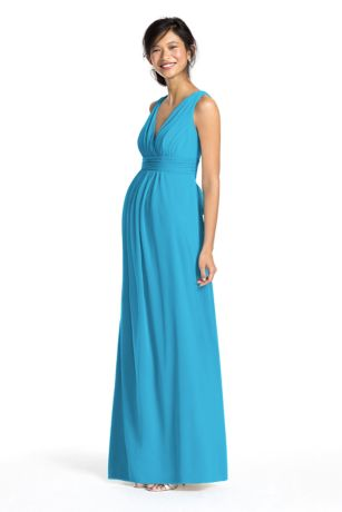 Long Mesh Empire Maternity Dress with Sash | David's Bridal
