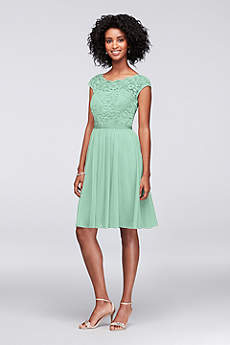 Short Sheath Cap Sleeves Cocktail and Party Dress - David's Bridal
