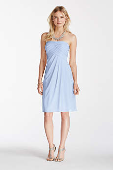 Short Strapless Bridesmaid Dress with Pleated Top