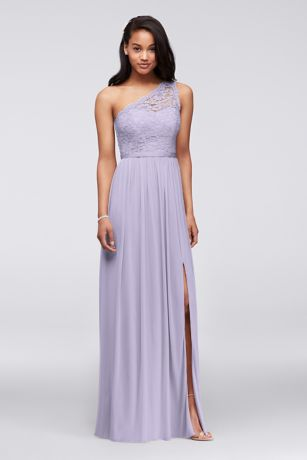 Long One Shoulder Lace Bridesmaid Dress Davids Bridal