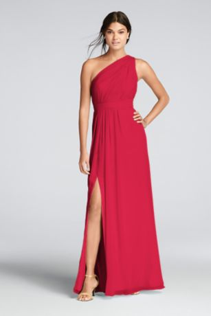 Long Red Soft Flowy David S Bridal Bridesmaid Dress