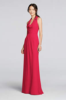 Long Chiffon Dress with Front Cowl Neckline