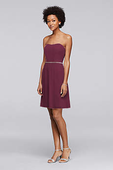 Chiffon Short Bridesmaid Dress with Beaded Belt