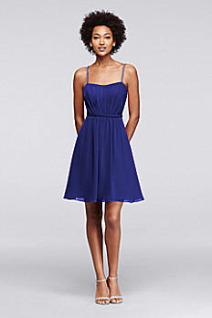 Chiffon Short Bridesmaid Dress with Pleating F19229