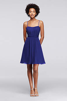 Chiffon Short Bridesmaid Dress with Pleating